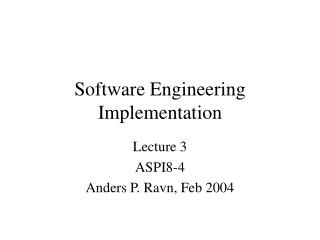 Software Engineering Implementation