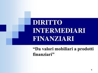 DIRITTO INTERMEDIARI FINANZIARI