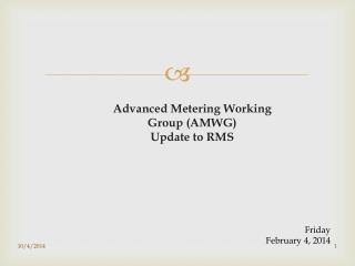 Advanced Metering Working Group (AMWG) Update to RMS