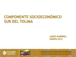 COMPONENTE SOCIOECONÓMICO  SUR DEL TOLIMA JAIRO  RAMÍREZ ENERO 2012