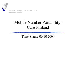 Mobile Number Portability: Case Finland