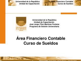 Área Financiero Contable Curso de Sueldos