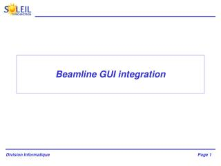 Beamline GUI integration