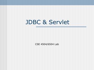 JDBC & Servlet
