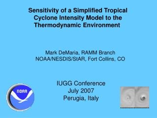 Sensitivity of a Simplified Tropical  Cyclone Intensity Model to the  Thermodynamic Environment