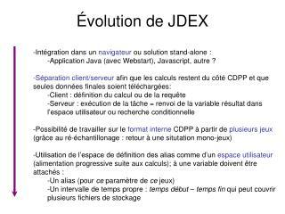 Évolution de JDEX