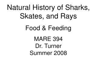 Natural History of Sharks, Skates, and Rays Food & Feeding MARE 394 Dr. Turner Summer 2008