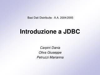 Introduzione a JDBC