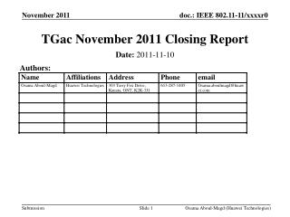 Presentation 1 November 2011