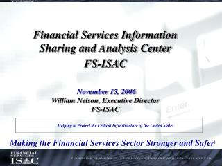 Making the Financial Services Sector Stronger and Safer