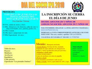 PROGRAMA SABADO 12 DE JUNIO EN LAS INSTALACIONES DEL RESTAURANTE EZCABARTE