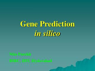 Gene Prediction  in silico