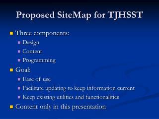 Proposed SiteMap for TJHSST