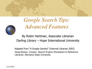 Google Search Tips: Advanced Features