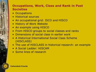 Occupations, Work, Class and Rank in Past Societies