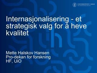 Internasjonalisering  i UiOs strategiske plan 2010-2020