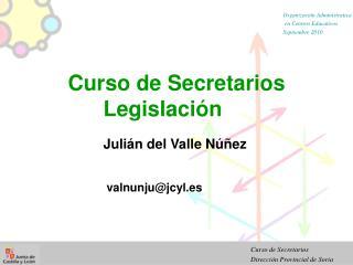 Curso de Secretarios Legislación Julián del Valle Núñez  valnunju@jcyl.es