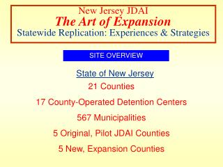 New Jersey JDAI The Art of Expansion Statewide Replication: Experiences & Strategies