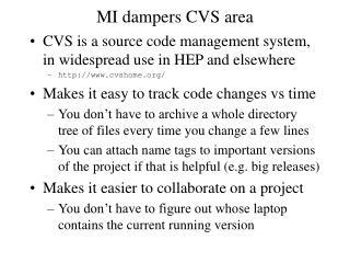 MI dampers CVS area