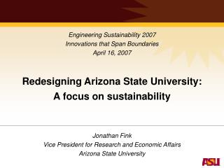 Redesigning Arizona State University: A focus on sustainability