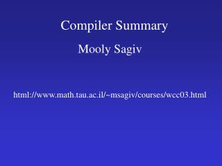 Compiler Summary
