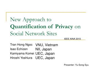New Approach to  Quantification of Privacy  on Social Network Sites
