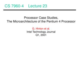 CS 7960-4    Lecture 23