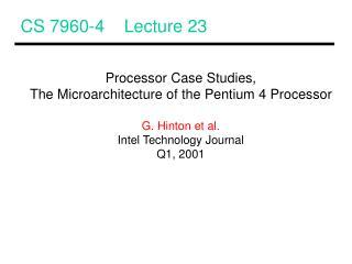 CS 7960-4    Lecture 23