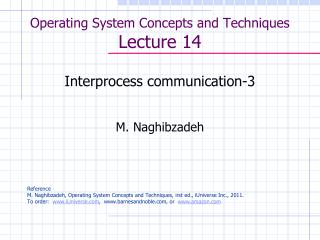 Operating System Concepts and Techniques  Lecture 14