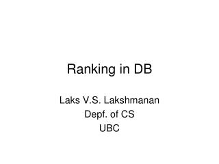 Ranking in DB
