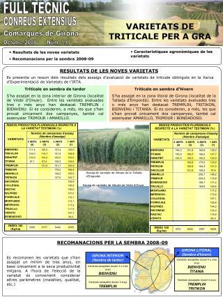Resultats de les noves varietats  Recomanacions per la sembra 2008-09
