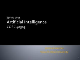 Spring  2011 Artificial Intelligence  COSC 40503