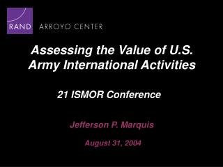 Assessing the Value of U.S. Army International Activities