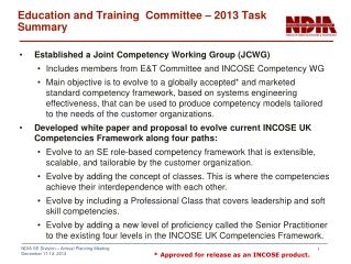 Education and Training  Committee – 2013 Task Summary