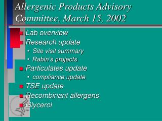 Allergenic Products Advisory Committee, March 15, 2002