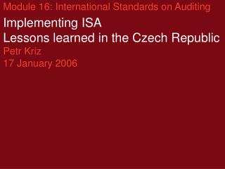 Module 16: International Standards on Auditing