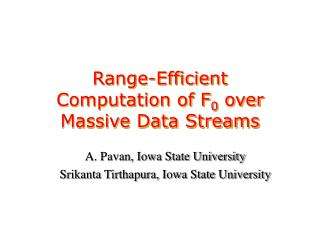 Range-Efficient Computation of F 0  over Massive Data Streams