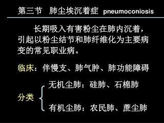 第三节   肺尘埃沉着症   pneumoconiosis