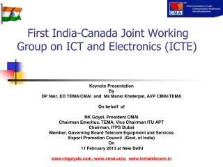 First India-Canada Joint Working Group on ICT and Electronics (ICTE)