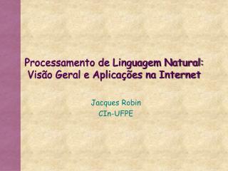 Processamento de Linguagem Natural: Visão Geral e Aplicações na Internet
