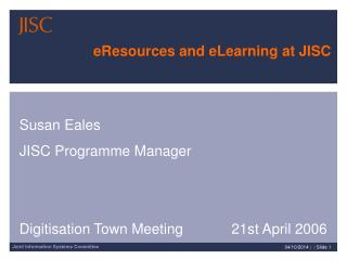 eResources and eLearning at JISC