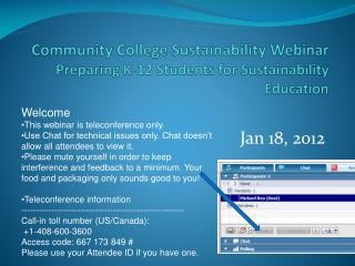 Community College Sustainability Webinar Preparing K-12 Students for Sustainability Education