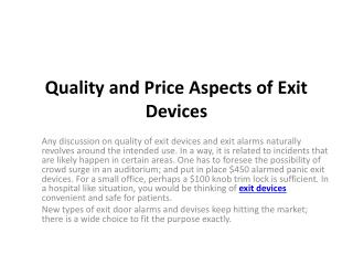 Quality and Price Aspects of Exit Devices