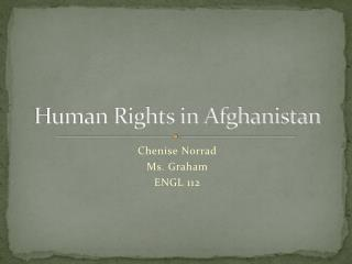 Human Rights in Afghanistan