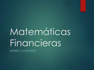 Matem�ticas Financieras