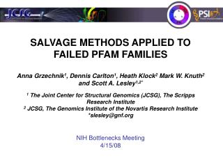 SALVAGE METHODS APPLIED TO FAILED PFAM FAMILIES
