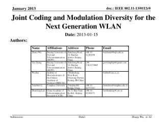 Joint Coding and Modulation Diversity for the Next Generation WLAN