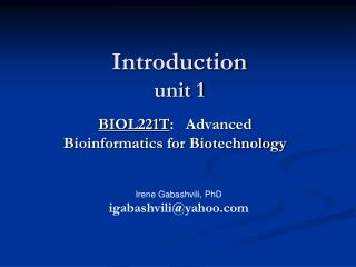 Introduction unit 1