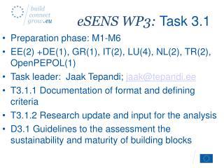 eSENS WP3:  Task 3.1
