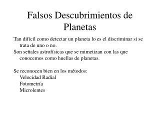Falsos Descubrimientos de Planetas